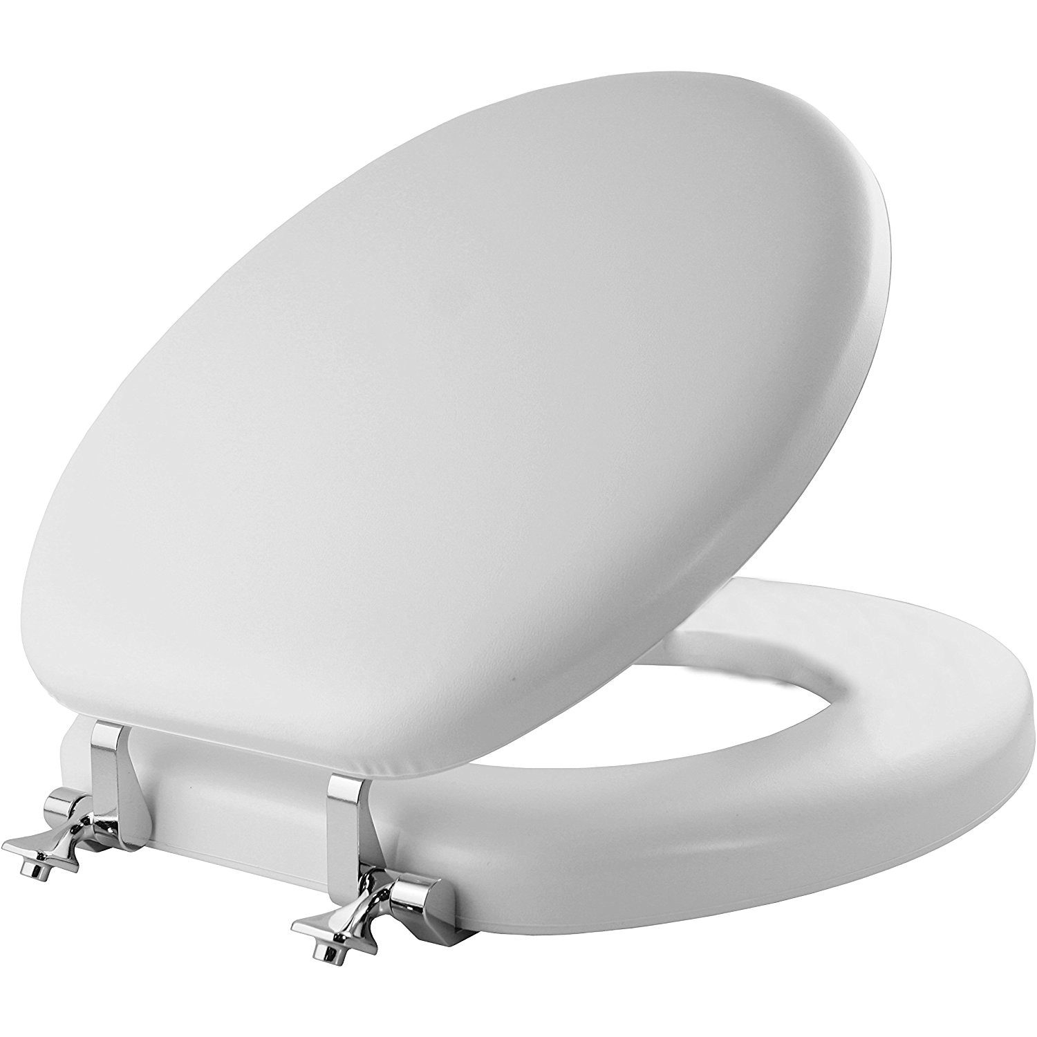 mayfair soft toilet seat with molded wood core and classic chrome metal hinges round