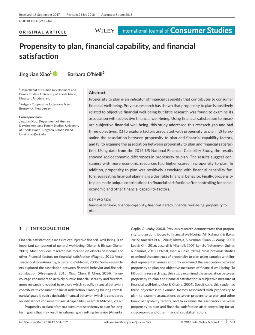 pdf propensity to plan financial capability and financial satisfaction