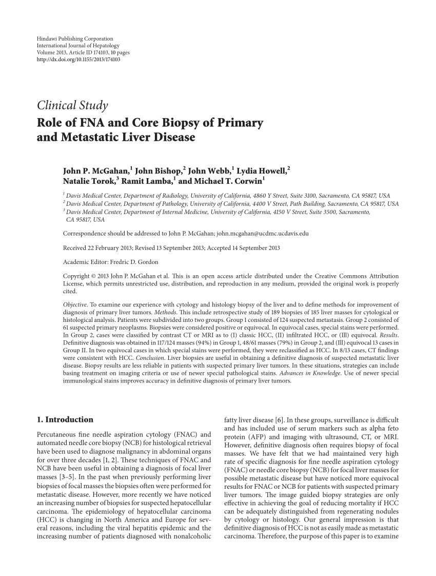 pdf role of fna and core biopsy of primary and metastatic liver disease