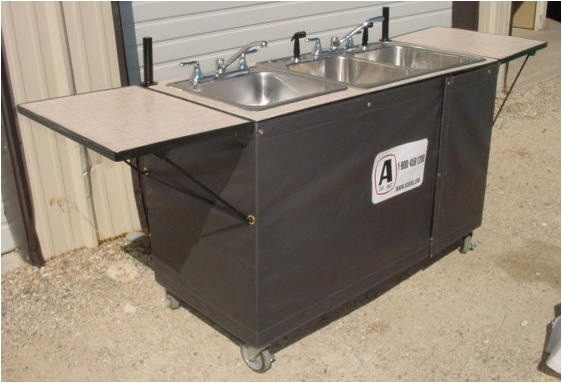 3 basin hot cold water sink