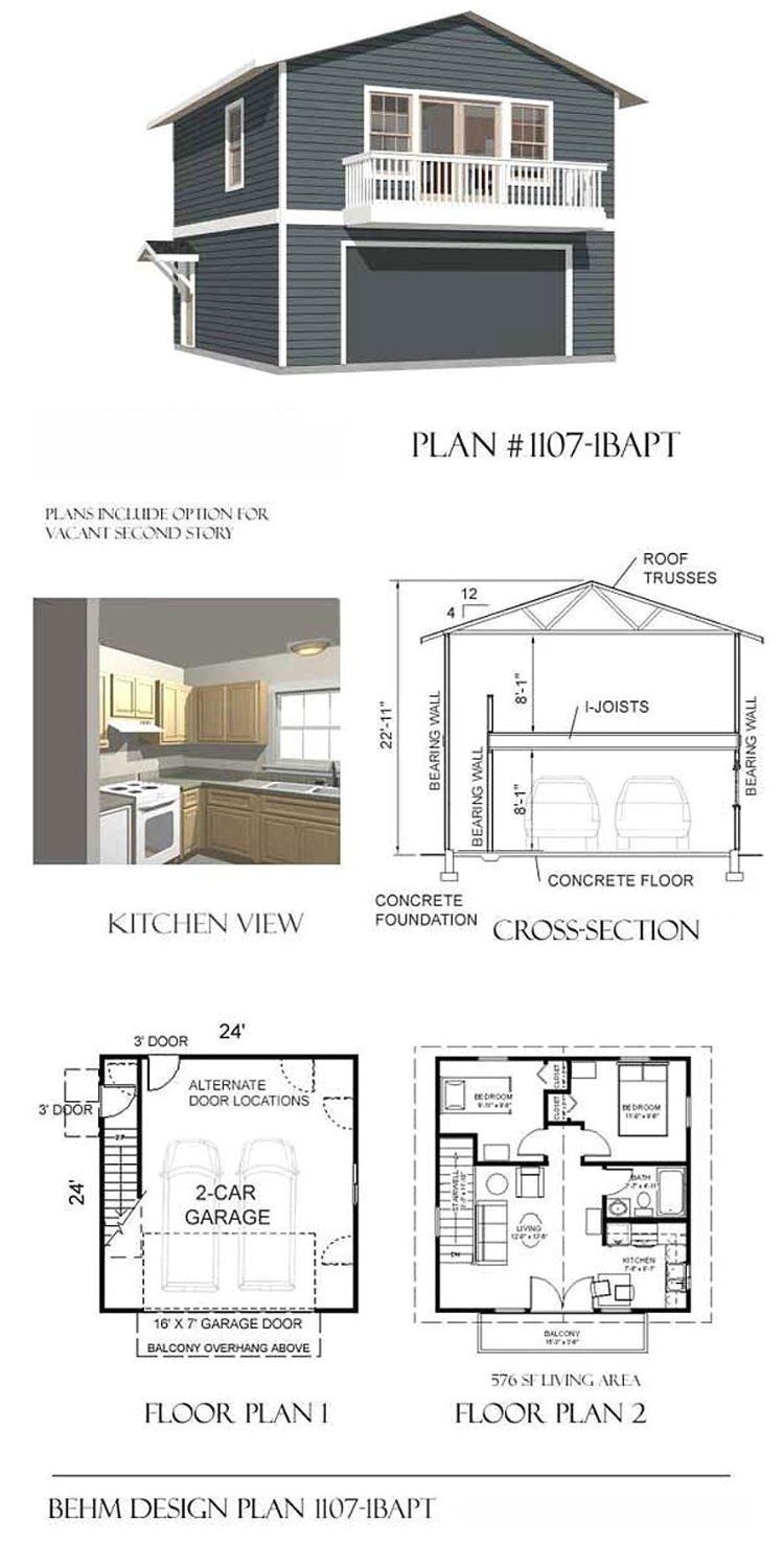 garage plans two car two story garage with apartment and balcony plan 1107 1bapt