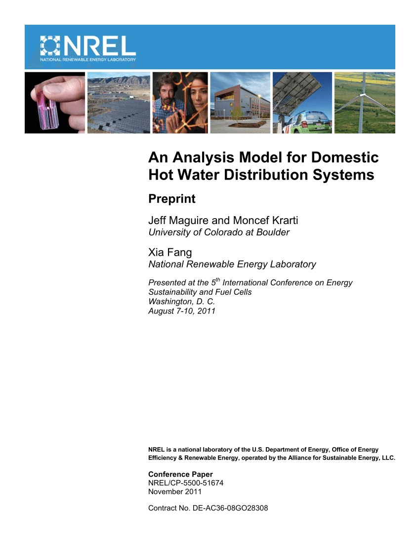 pdf analysis model for domestic hot water distribution systems preprint