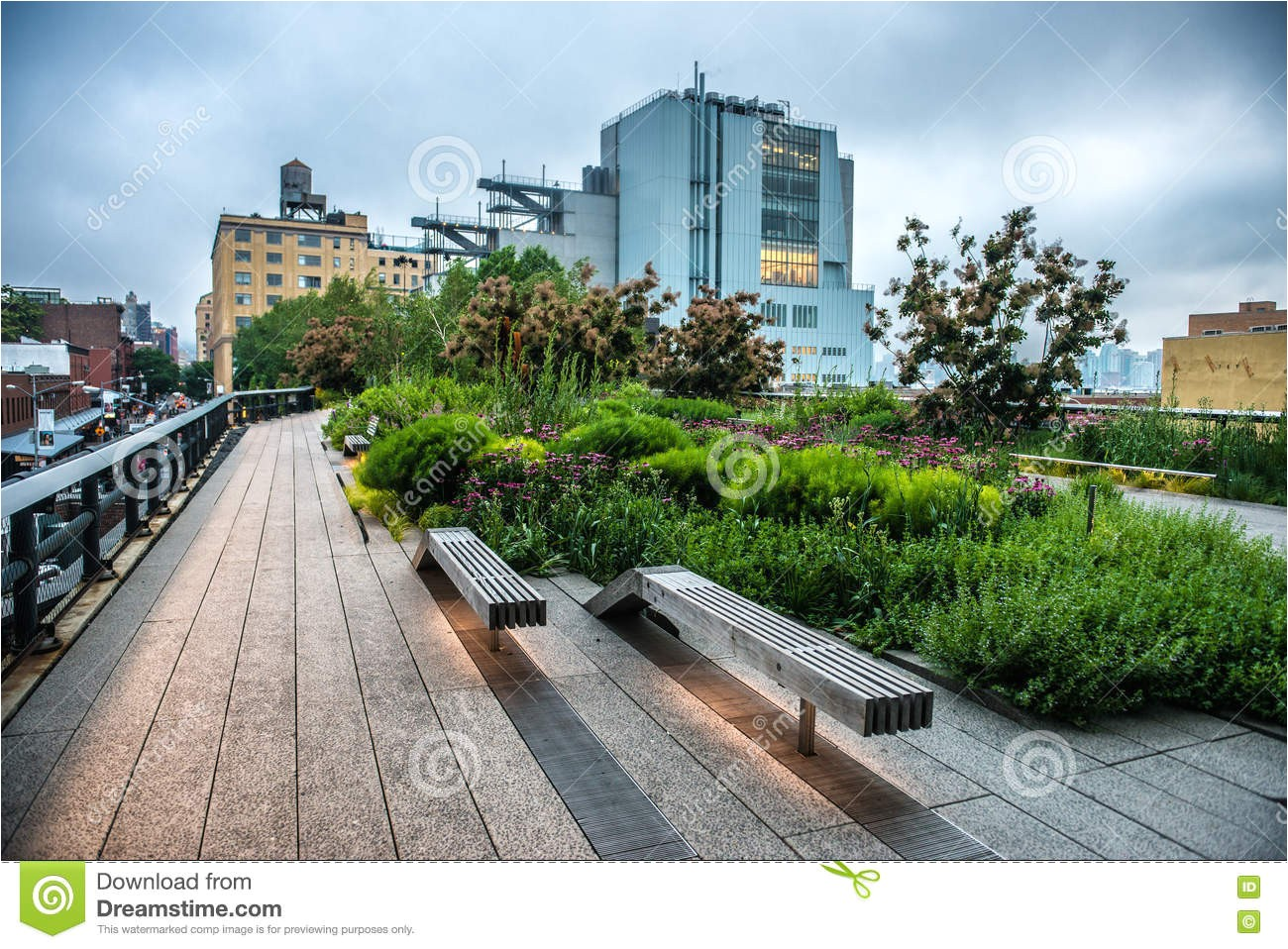 stock photo high line park urban public park historic freight rail line new york city manhattan evening image74035763