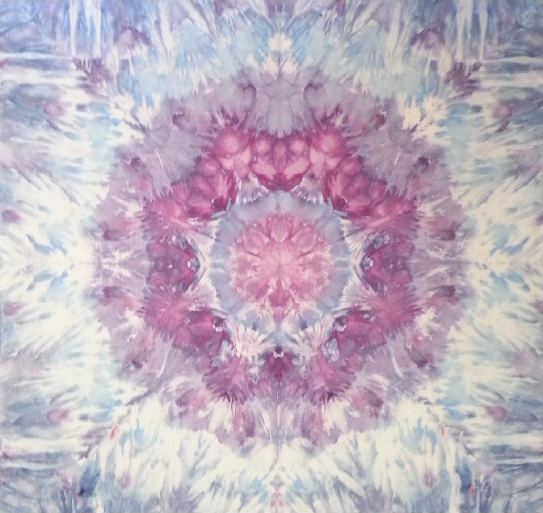 mandala tie dye tapestry in purple blue