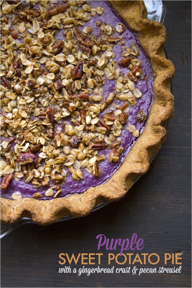 purple sweet potato pie with a gingerbread crust and pecan streusel refined sugar free