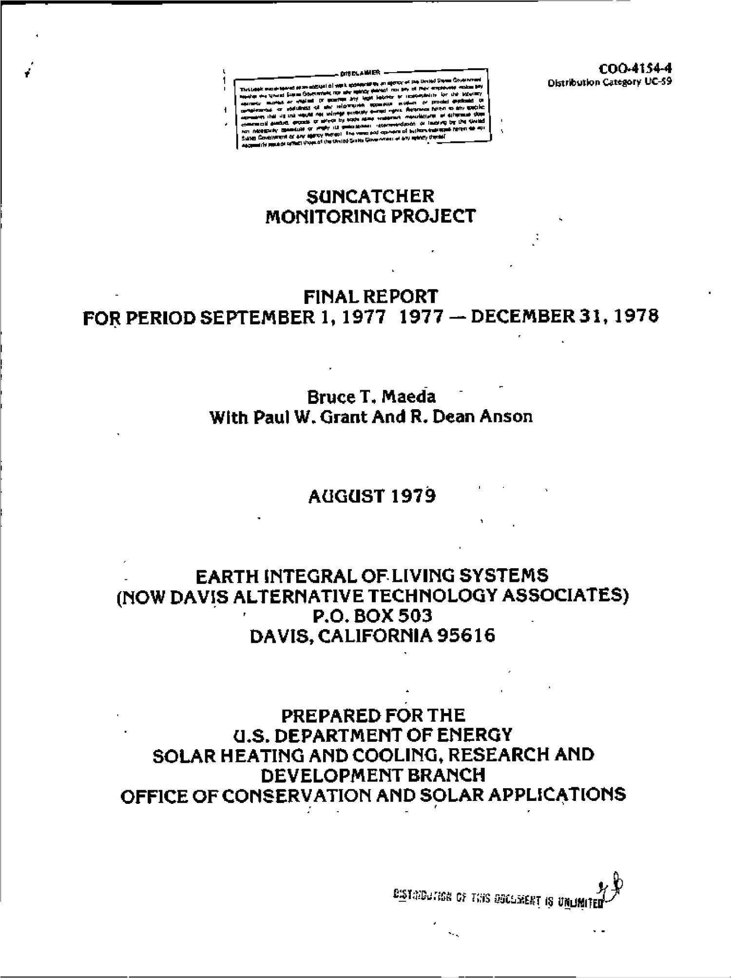 suncatcher monitoring project final report september 1 1977 december 31 1978 digital library