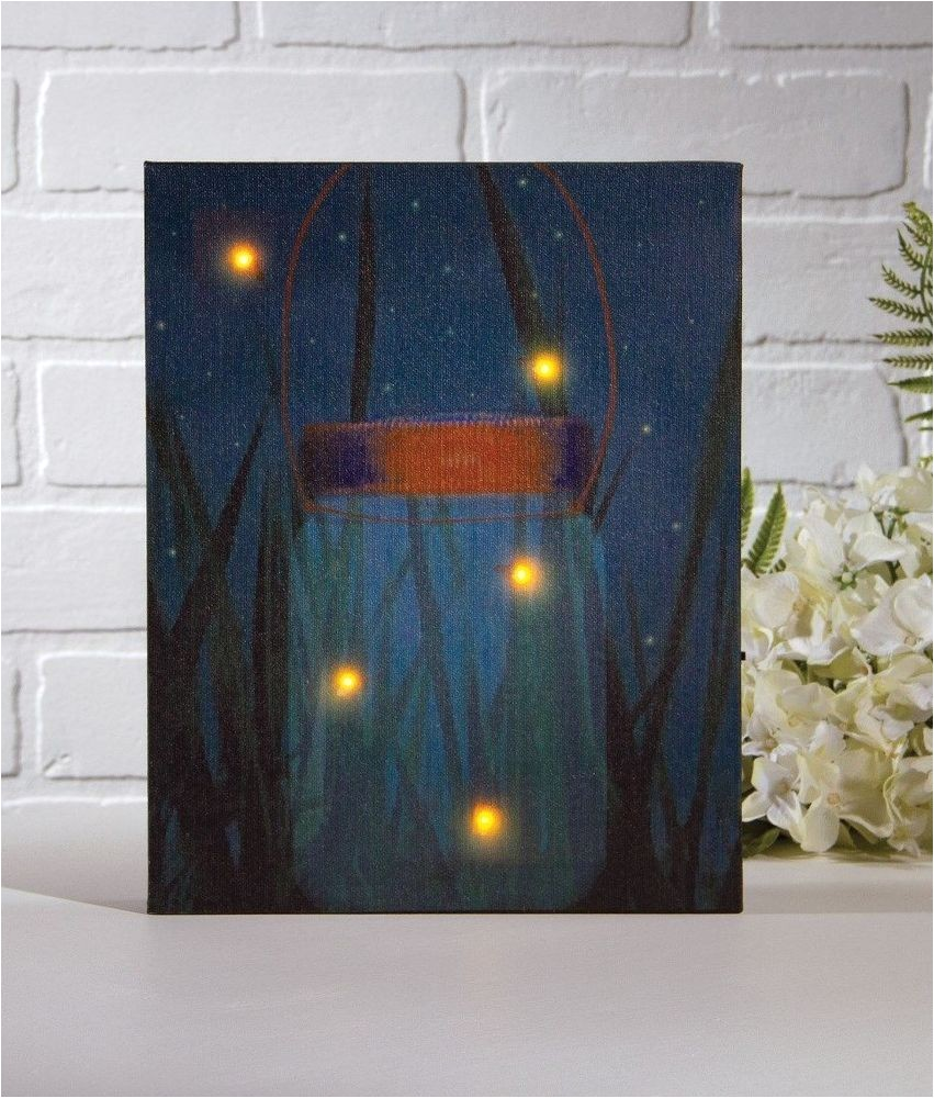 Radiance Flickering Light Canvas with Timer Firefly Jar Lighted Picture W Flickering Lights Timer
