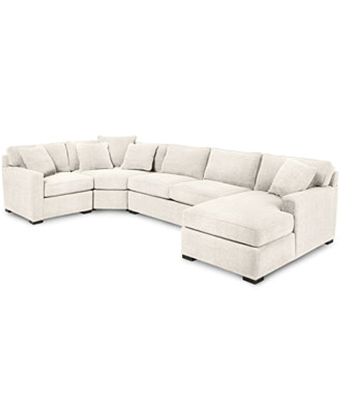Radley 4 Piece Sectional Macys Radley 4 Piece Fabric Chaise Sectional sofa Custom Colors