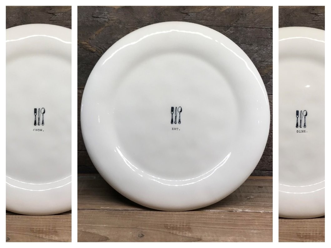 new rae dunn eat chow dine icon dinner plates set of 6
