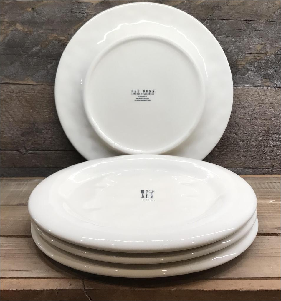 new rae dunn dine dinner plates set of 4