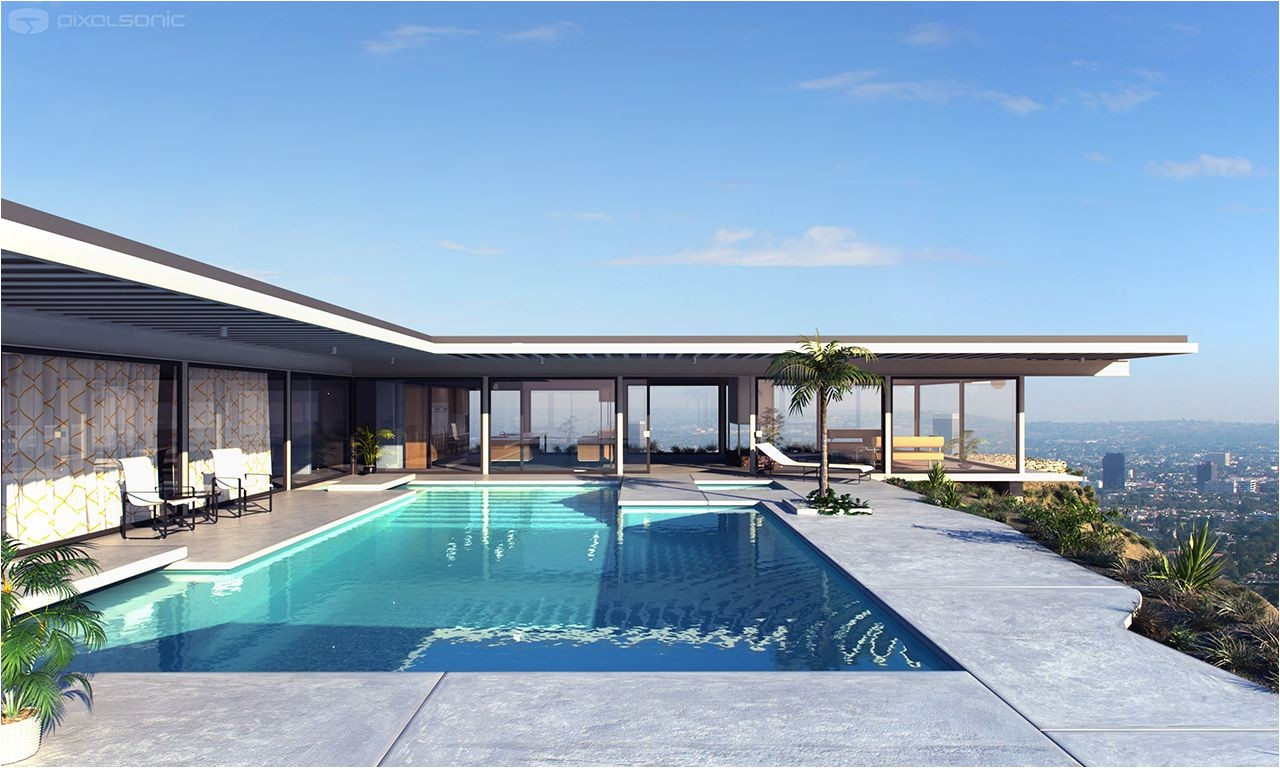 modern architecture pierre koenig case study house the stahl house los angeles california exterior view swimming pool