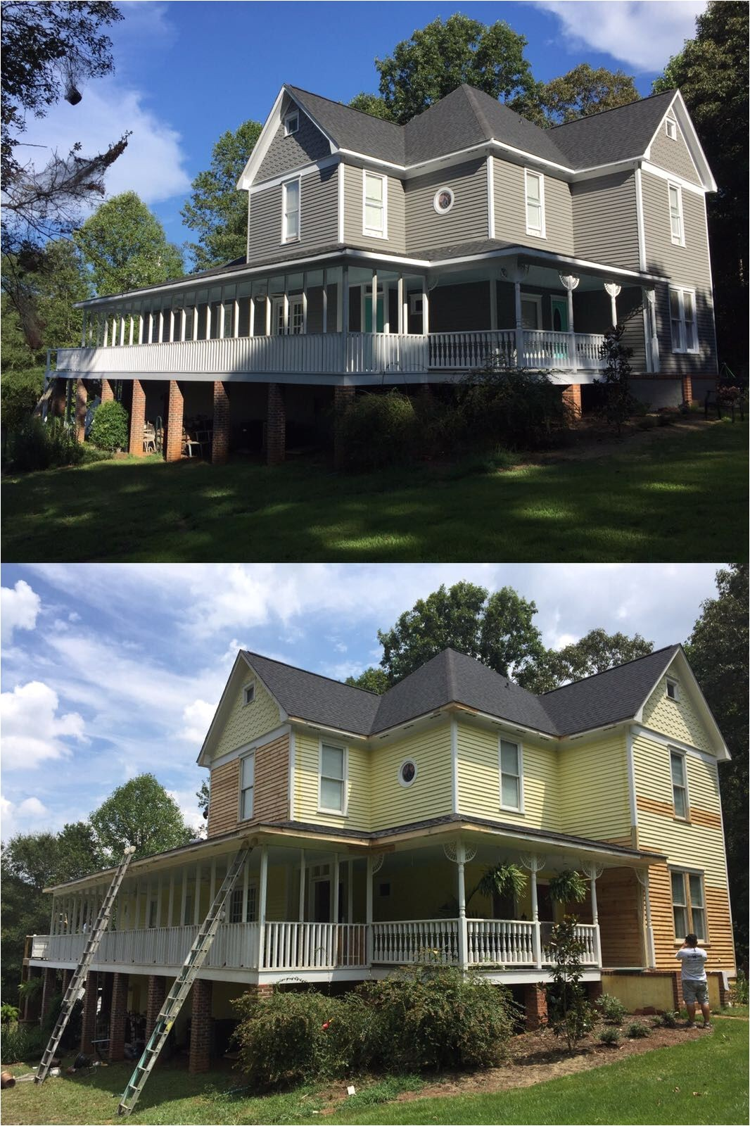 before and after of a home coated with rhino shield in easley south carolina rhino