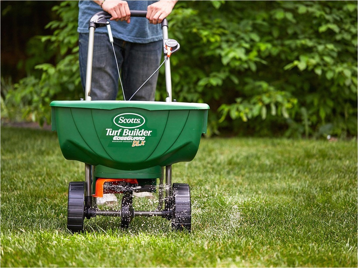 spread your grass seed and fertilizer ease using scotts 46 deluxe broadcast spreader
