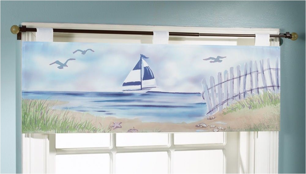 Seashore or Nautical Window Valances Sailboat Seaside Window Valance Nautical Beach Sand