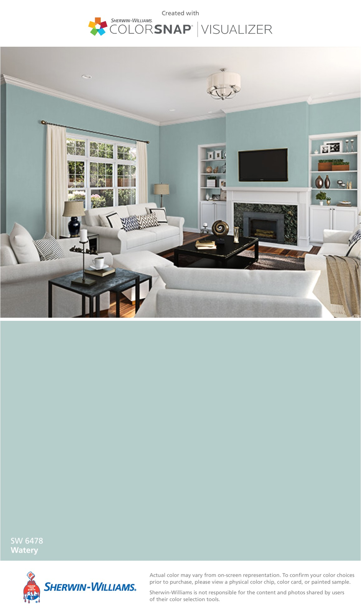 i found this color with colorsnapa visualizer for iphone by sherwin williams watery sw 6478