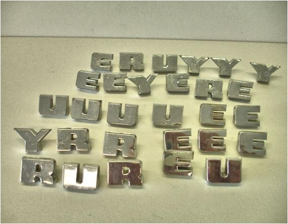 vintage lot 28 chrome metal letters