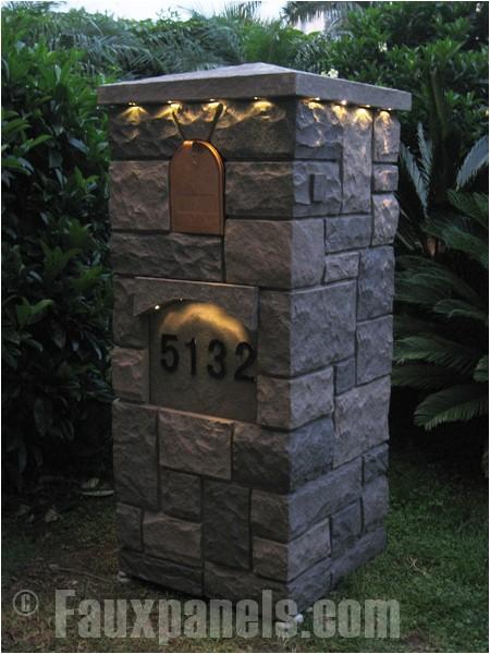 Stone Column Mailbox Kit Mailbox with solar Lighting Creative Faux Panels