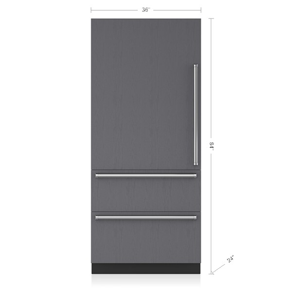 36 inch integrated over under refrigerator freezer ice maker panel ready