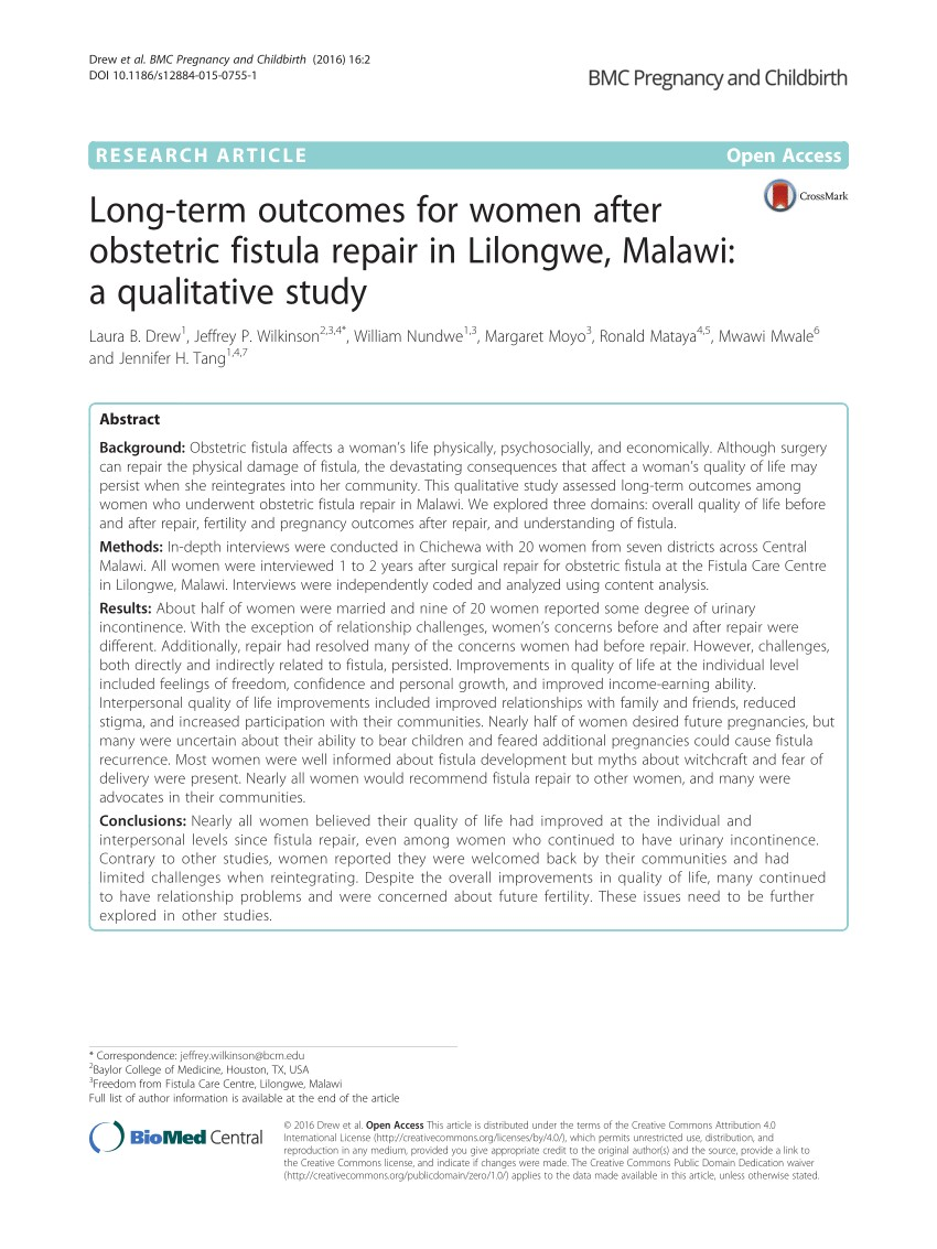 pdf long term outcomes for women after obstetric fistula repair in lilongwe malawi a qualitative study