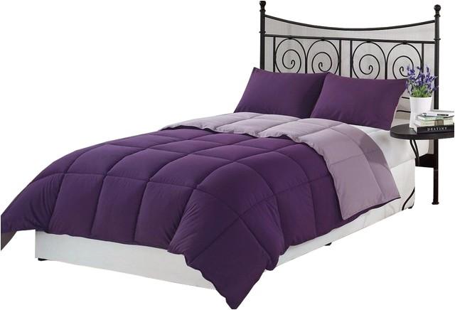 super soft goose down alternative reversible comforter set purple twin contemporary comforters and comforter sets