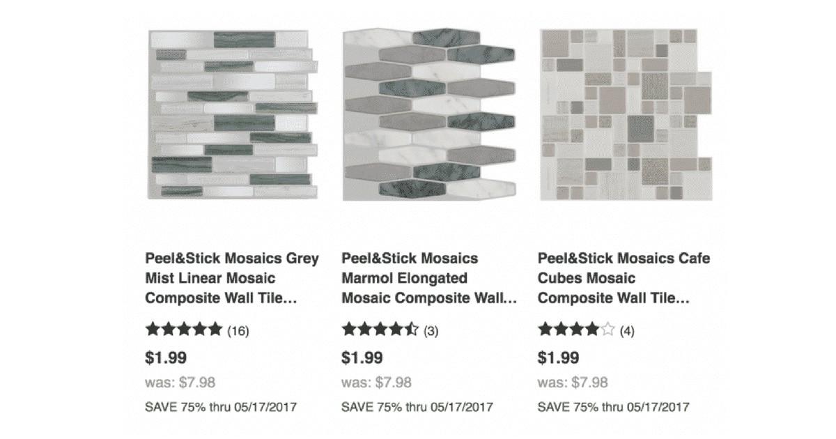peel stick mosaic tile sheets 1 99 reg 7 98