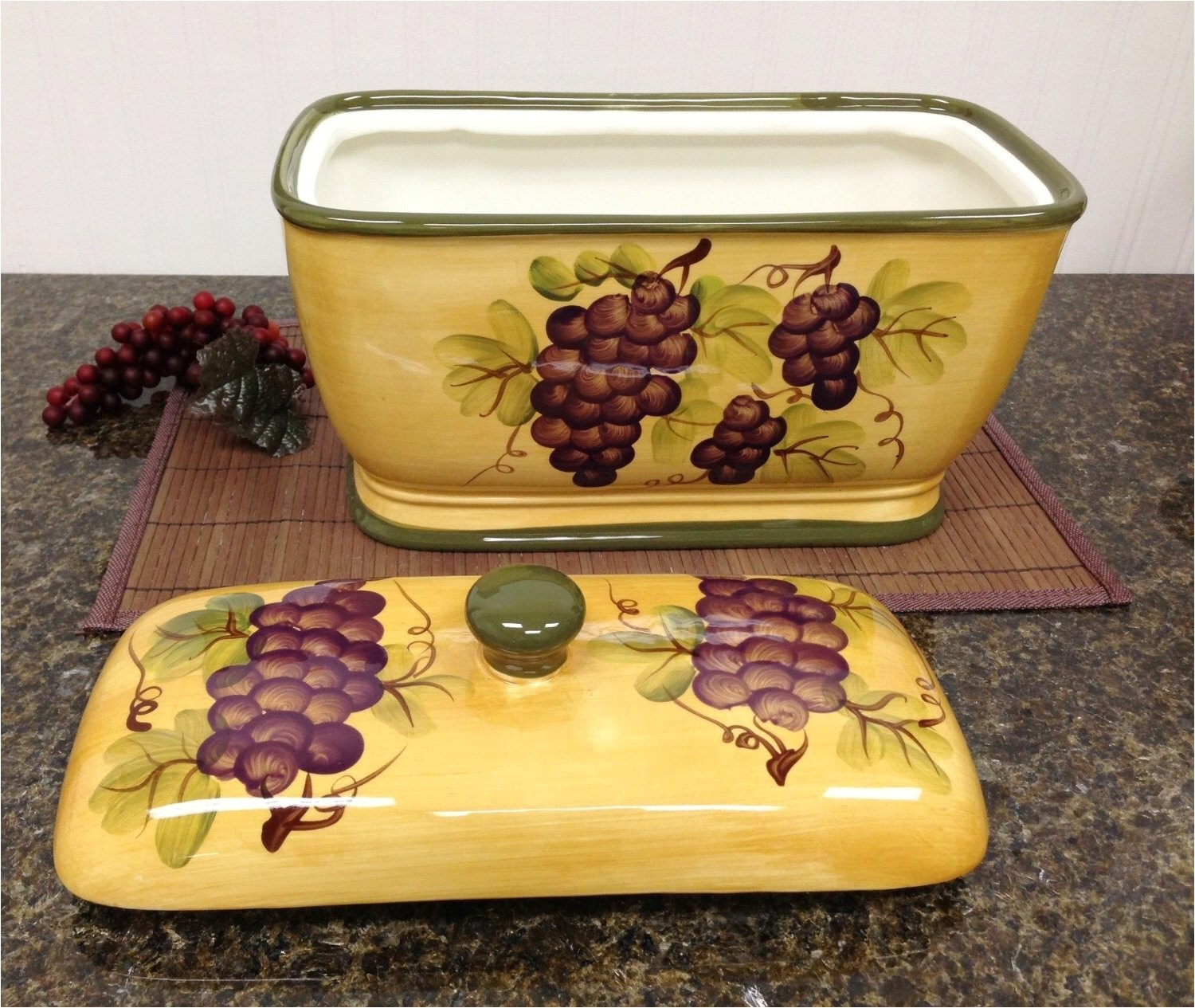 Tuscan Wine and Grape Kitchen Decor Kitchen Decor Grape Desing Tuscany Wine Bread Canister Box