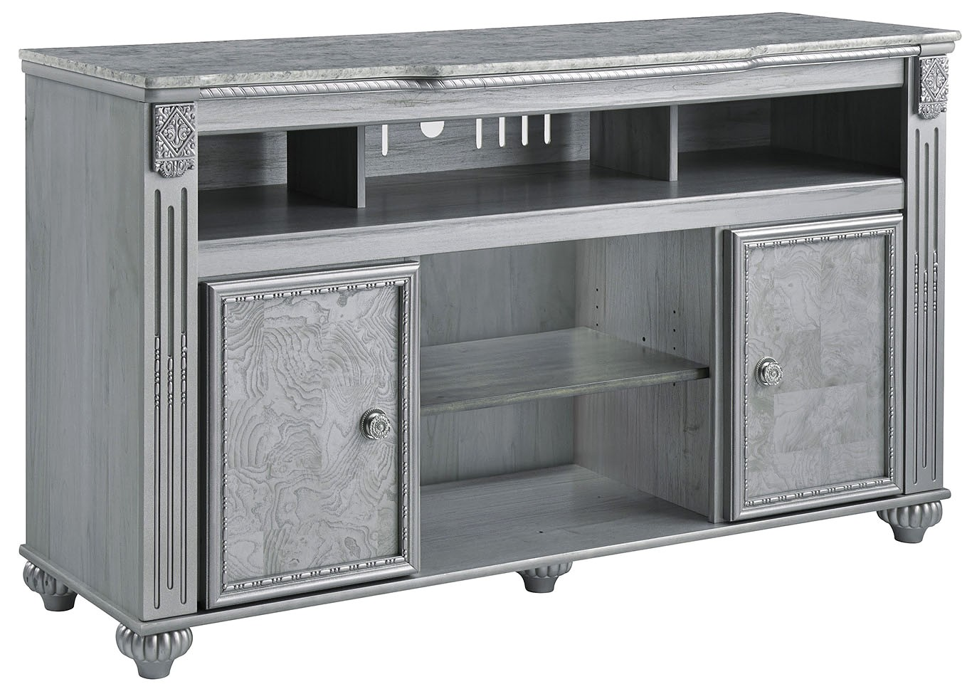 zolena champagne lg tv stand w fireplace option signature design by ashley