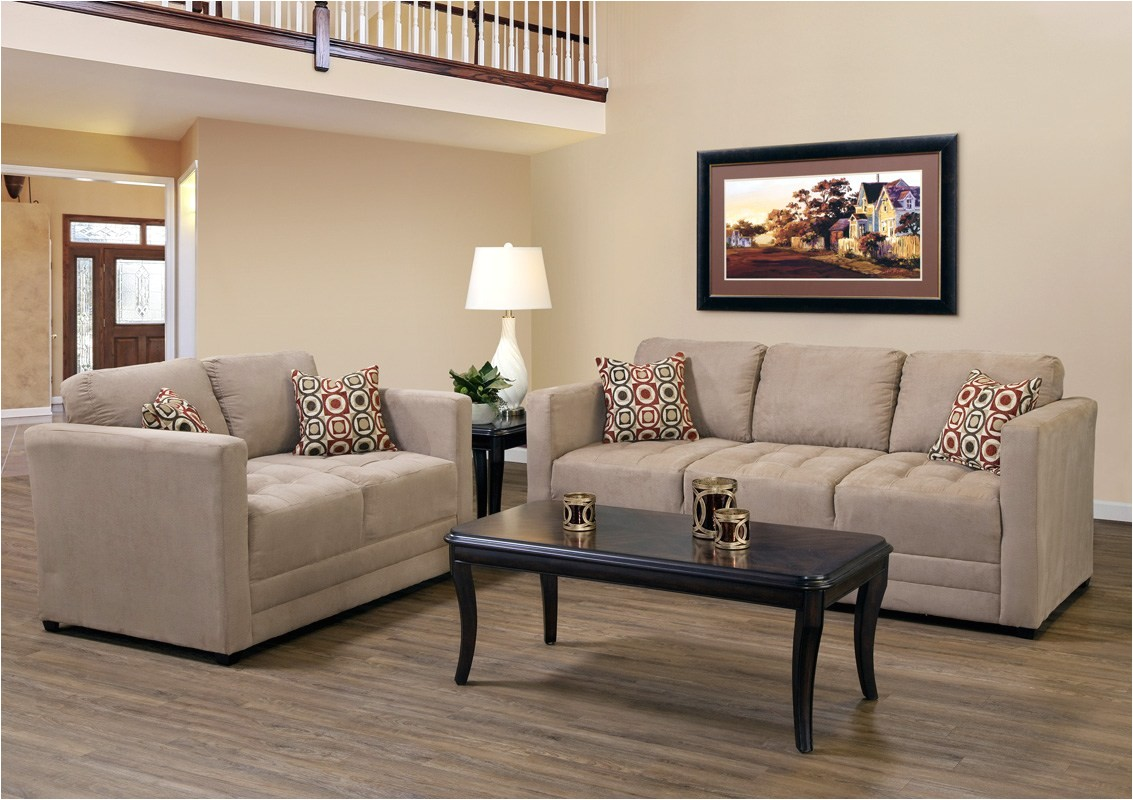small couch and loveseat set in camel tan fabric small scale apartment size