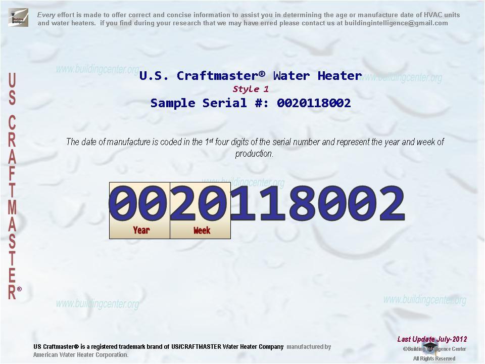 u s craftmaster water heater age