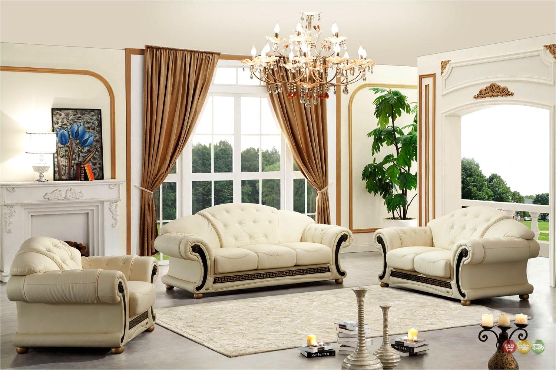 Versace Living Room Set Beige Versace Cleopatra Cream Italian top Grain Leather Beige