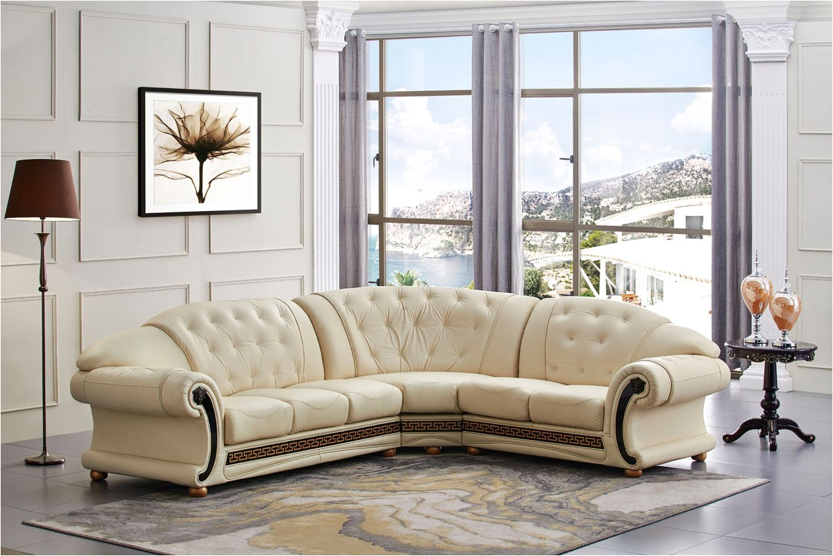 versace cleopatra cream italian top grain leather beige right chaise sectional sofa versacesectright