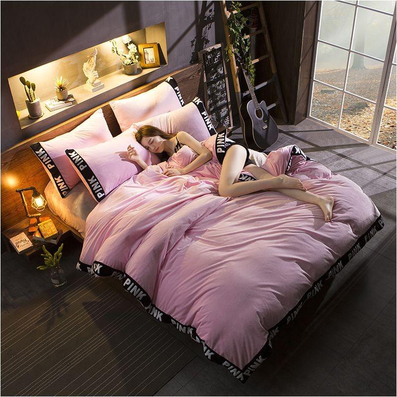 victorias secret velvet warm tower style embroidery bedding set assh qf