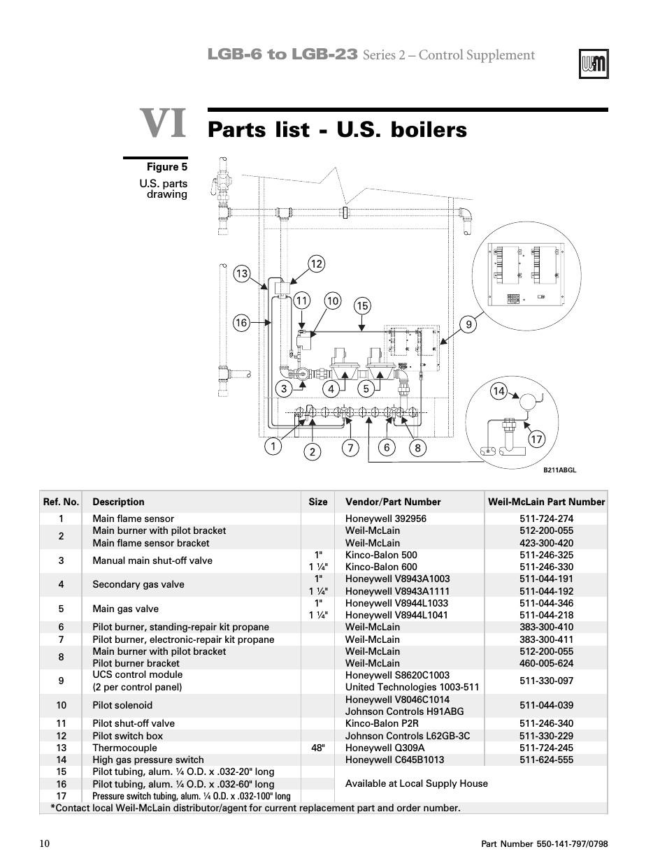 vi parts list u s parts list u s boilers lgb 6 to lgb 23 weil mclain series 2 lgb 7 user manual page 9 11