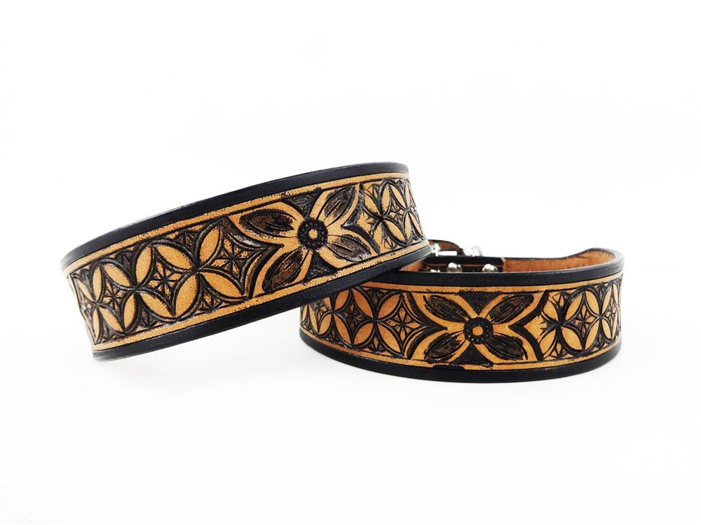 Western tooled Leather Dog Collars 10 Quot Black Tan Western Style Diamond Floral tooled