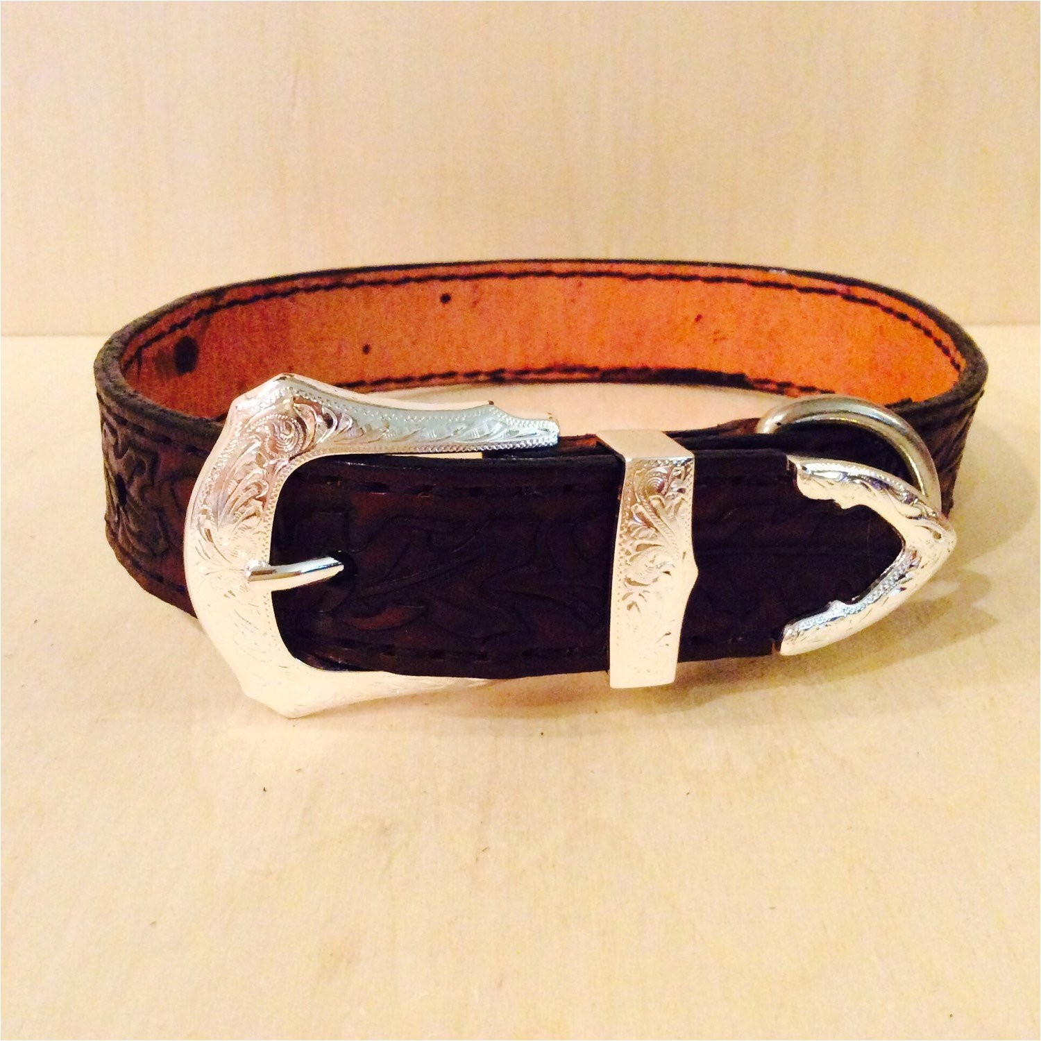 handmade tooled leather dog collar with