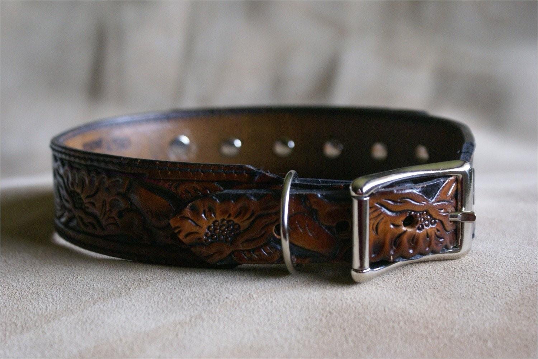 upcycled belt dog collar western tooled