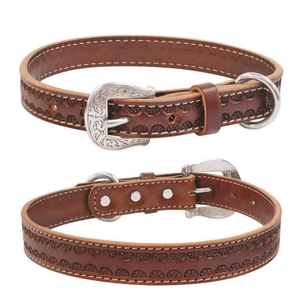 weaver hand tooled western style leather dog collar lead