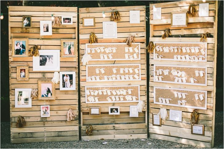 rustic wood pallet escort card display photo