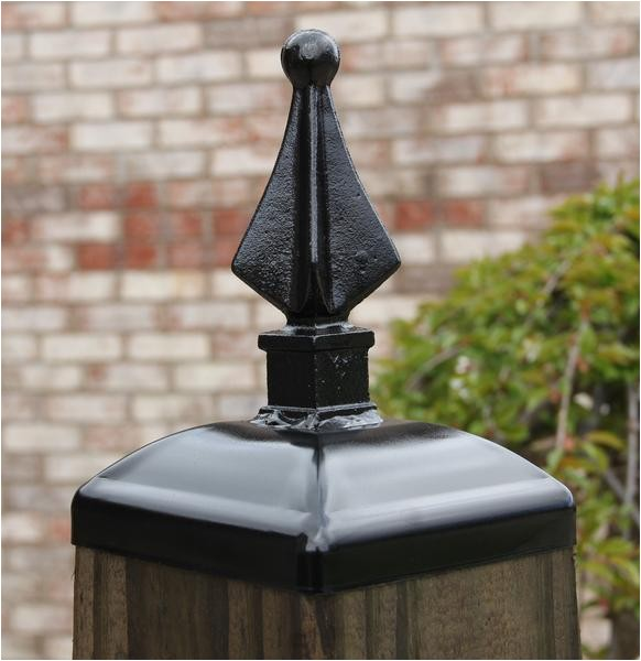 wrought iron quad spear post cap for 6x6 wood composite post gate fence mailbox post cap