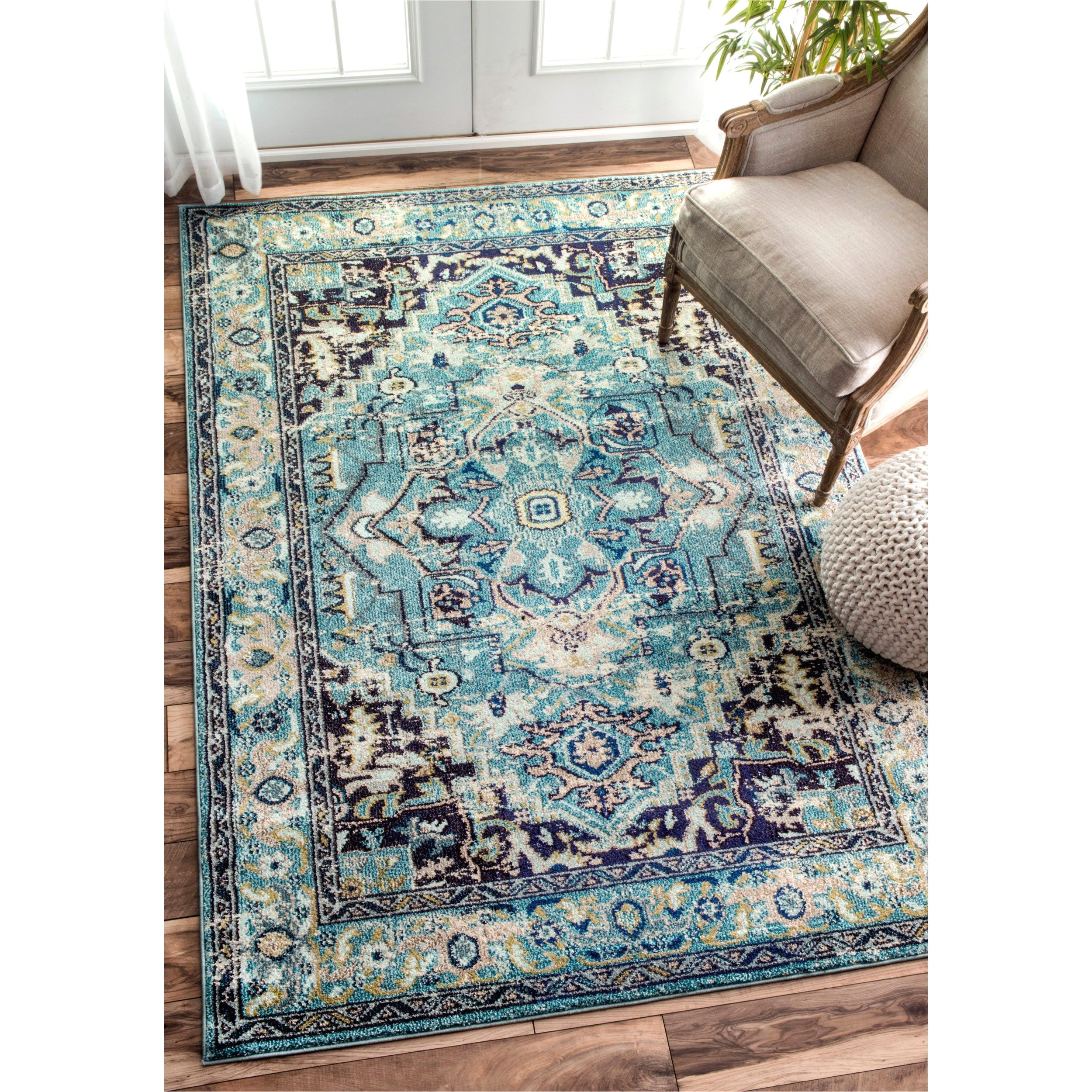 nuloom traditional flower medallion aqua rug 7 10 x 11 overstock com shopping the best deals on 7x9 10x14 rugs