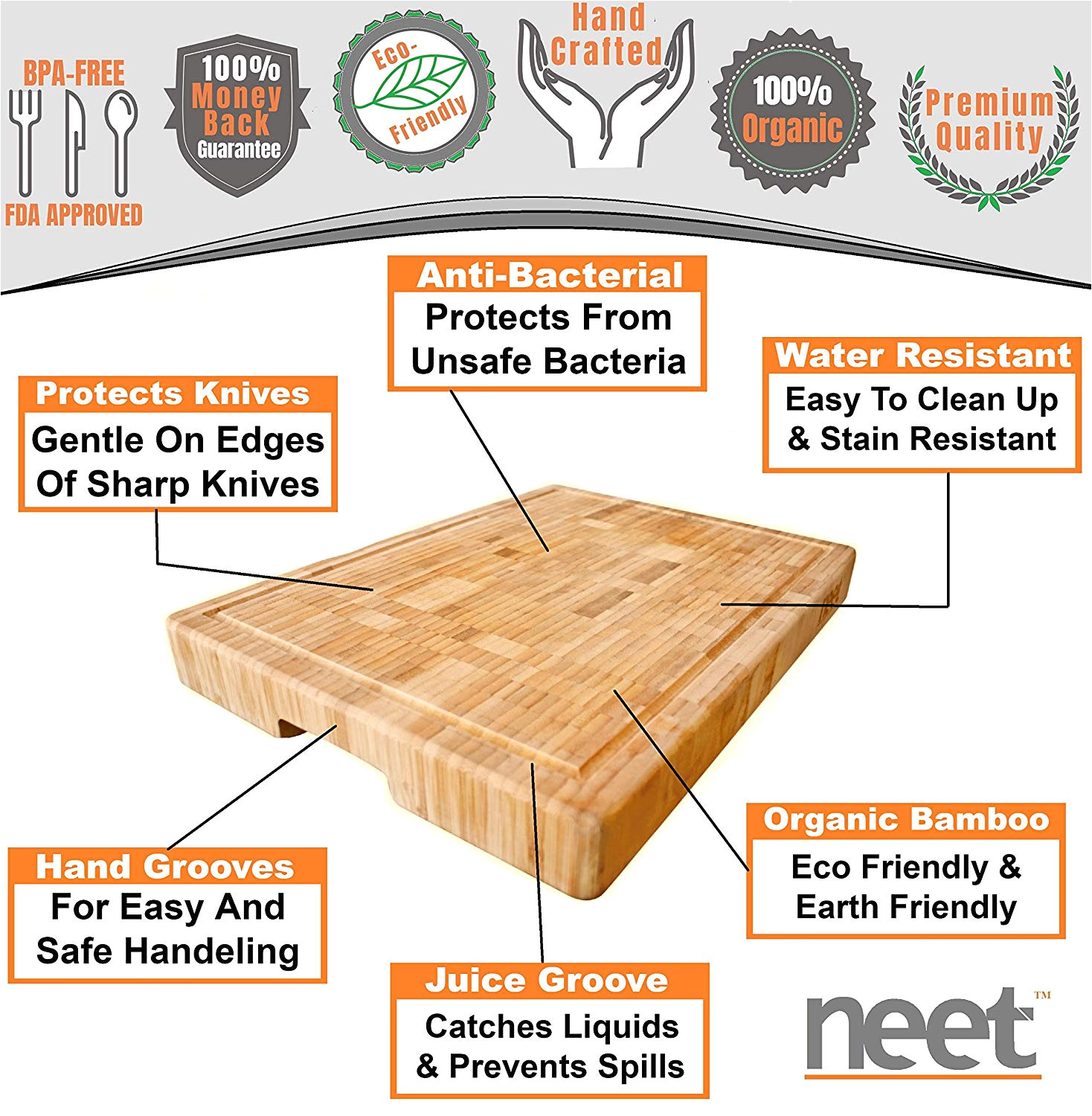 amazon com extra large organic bamboo cutting board end grain butcher block thick heavy solid 18 x 13 x 2 inch anti bacterial wood great for wooden