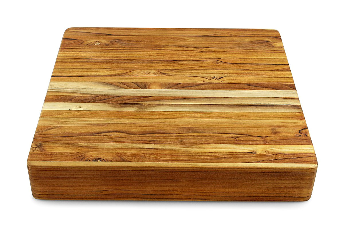 amazon com terra teak extra large butcher block 18 x 18 x 3 inch thick square cutting board kitchen dining