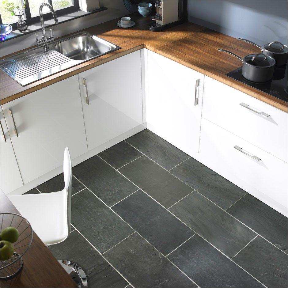 black slate tiles butcher block counters
