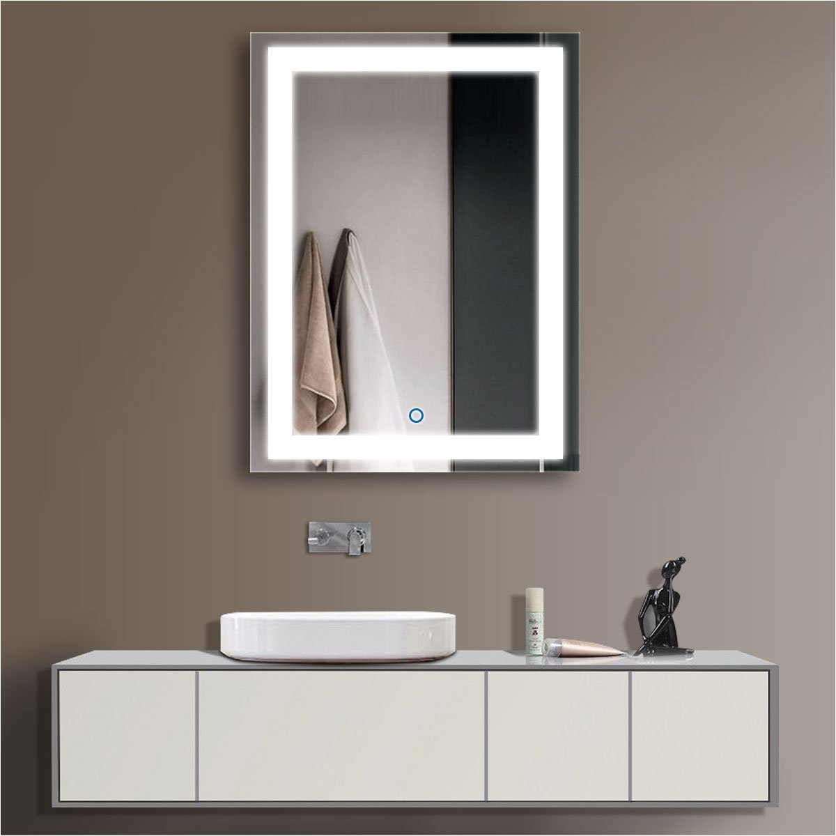 amazon com horizontal led bathroom silvered mirror with touch button d ck010 acdefg 24 x 32 ck010 home kitchen