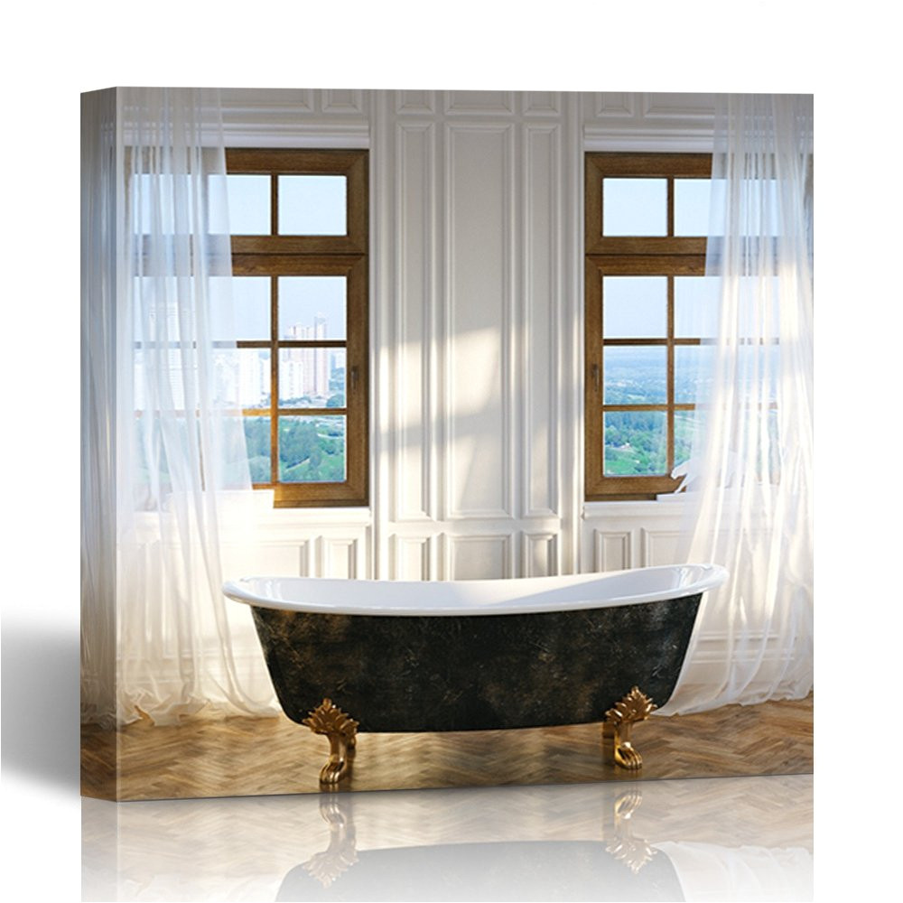 amazon com emvency painting wall art canvas print square 12x12 inches big bathroom with vintage iron bathtub in center and windows new classic decoration