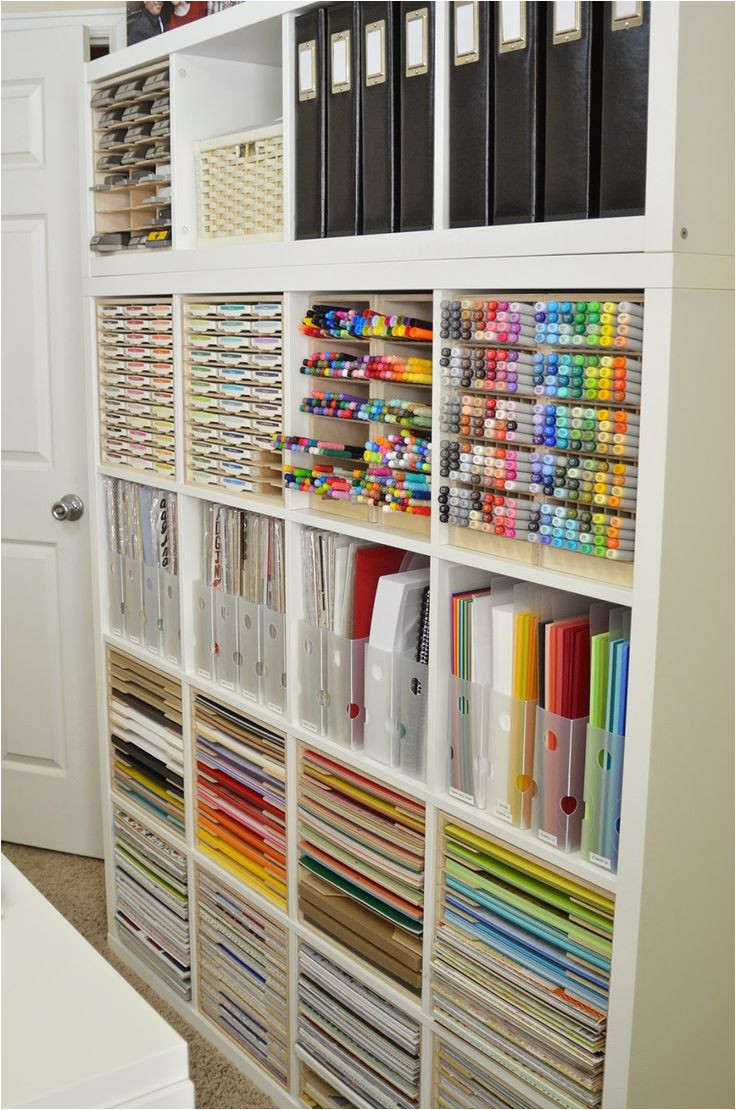 jeanne s has beautifully organized her craft room with ikea shelving and stamp n storage cabinets that are designed just for the kallax