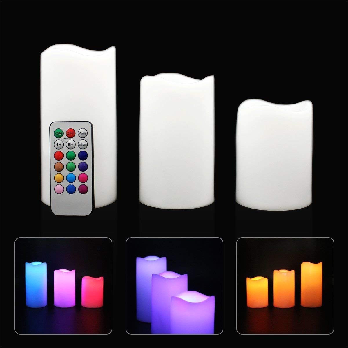 get quotations a led flameless candles 4 5 6 pillar 12 color changing candles with remote