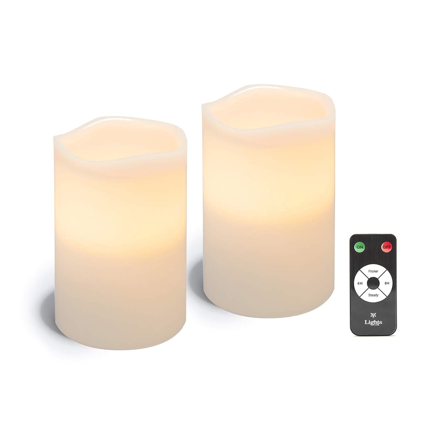 get quotations a white led flameless pillar candles 2 pack 4 x 6 wax candle
