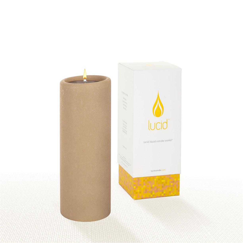 lucid liquid candles khaki 3x8 pillar candle