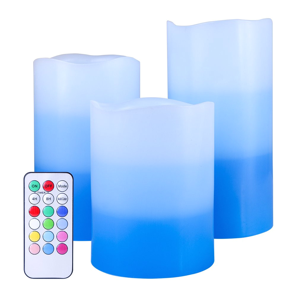 get quotations a set of 3 flameless led candles color changing flicker light mode option tri layer